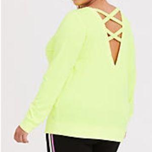 TORRID Neon Yellow Active Lattice Sweatshirt